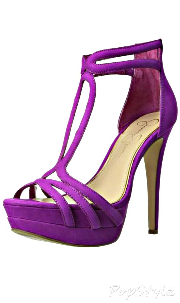 "Jessica Simpson Leather Platform Pump - Pretty ""Strappy"" Look"