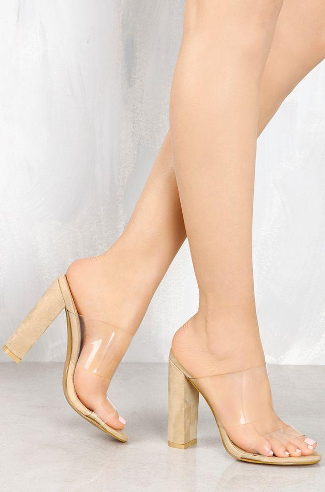 Nuevo Botines de Mujer Purpurina Perspex Bloque Alto Tacón Moda Zapatos Número - Charol Nude, 39