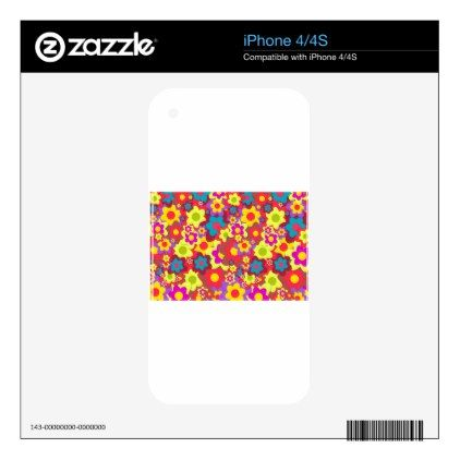 Flower Peace Pattern Skins For The iPhone 4 - floral style flower flowers stylish diy personalize