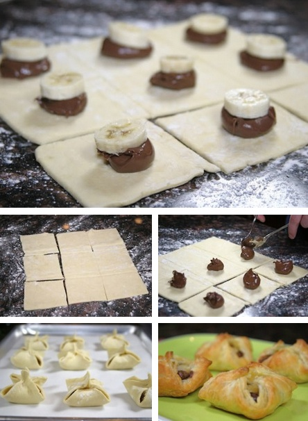 Banana & Nutella Stuffed Pastry Purses #diy #recipe http://thecakebar.tumblr.com/post/20965331795/banana-nutella-pastry-purses-tutorial-recipe