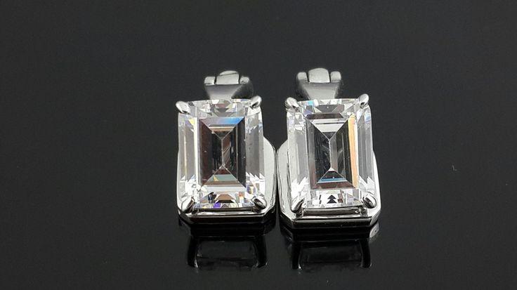 Emerald cut AAAAA grade cubic zirconia 925 sterling silver clip on earrings by IsaBellaJewellery on Etsy