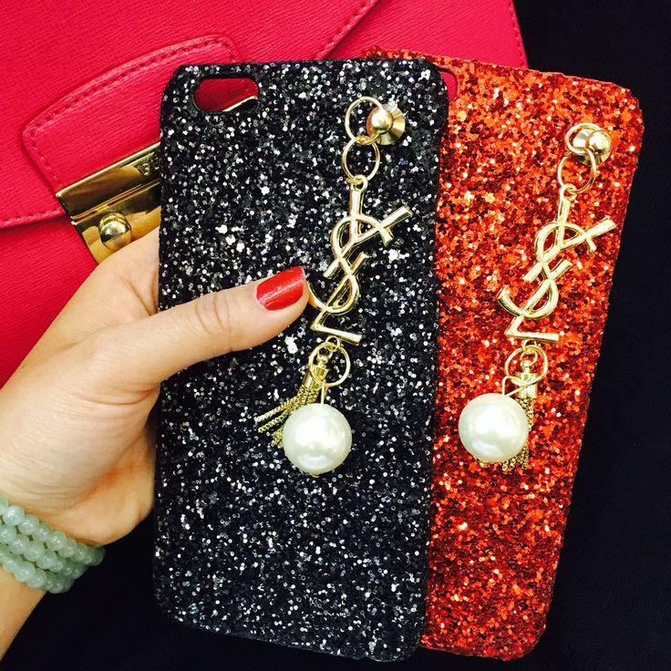 イヴサンローラン iphone7ケース ゴールドロゴ キラキラ 真珠付き 黒い 赤いiphone6s/iphone7plus ケース彼女プレゼント おしゃれ