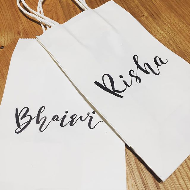 Helping my friend with her bachelorette party gifts  only 9 more to go! #bacheloretteparty #bachelorettegifts #lettering #handwriting #brushwriting #calligraphy #wedding #weddinglettering