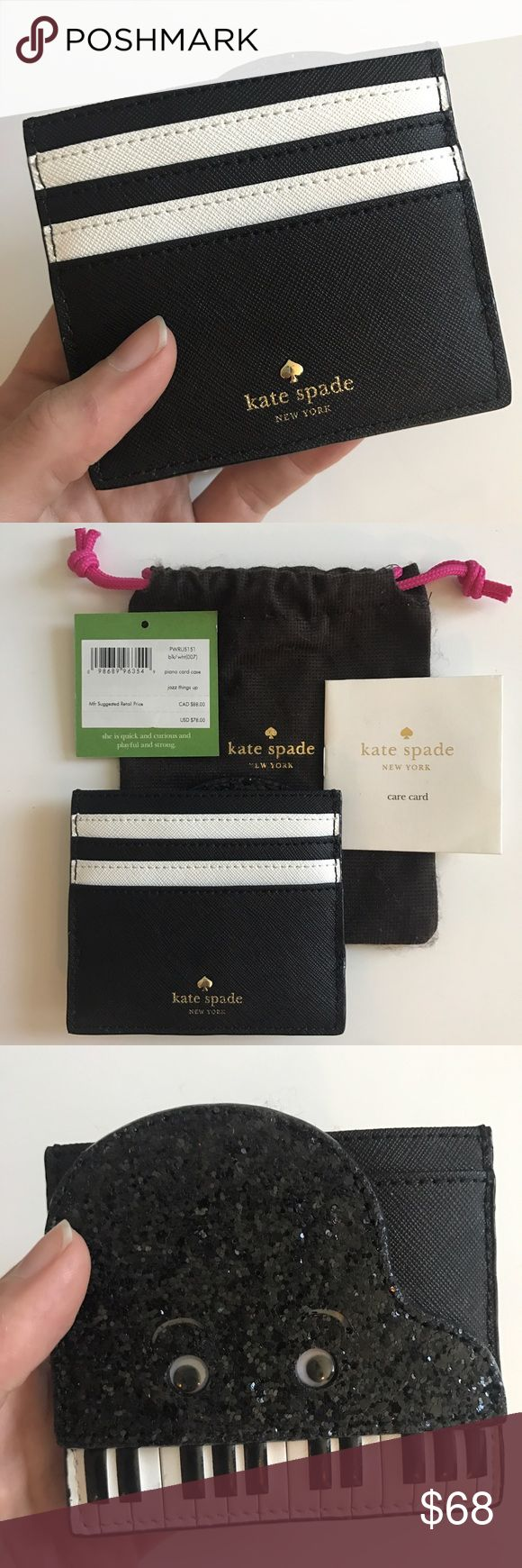 """Kate Spade Wallet -- Brand New with $78 tag Brand new, never used.  Mfr Suggested Retail Price $78.00 plus tax.  Piano Card Case """"Jazz Things Up"""" - PWRU5151 blk/wht(007)  Designer wallet / card carrying case.  Black glitter, black-and-white piano keys.  Shaped like a cute grand piano with caricature eyes that move.  Has 5 card slots with one large money slot.  Includes brown cotton case / dust bag, the price tag, and care card. kate spade Bags Wallets"""