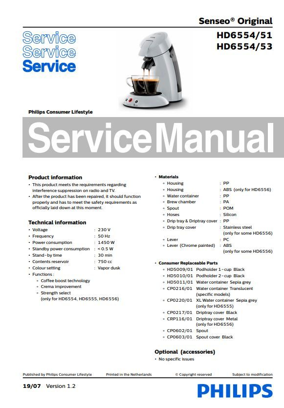 Philips Senseo HD6554 51 53 coffee machine original