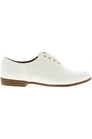 Femme Chaussures à lacets - Ballerines Mocassins femme blancs vernis sans lacets