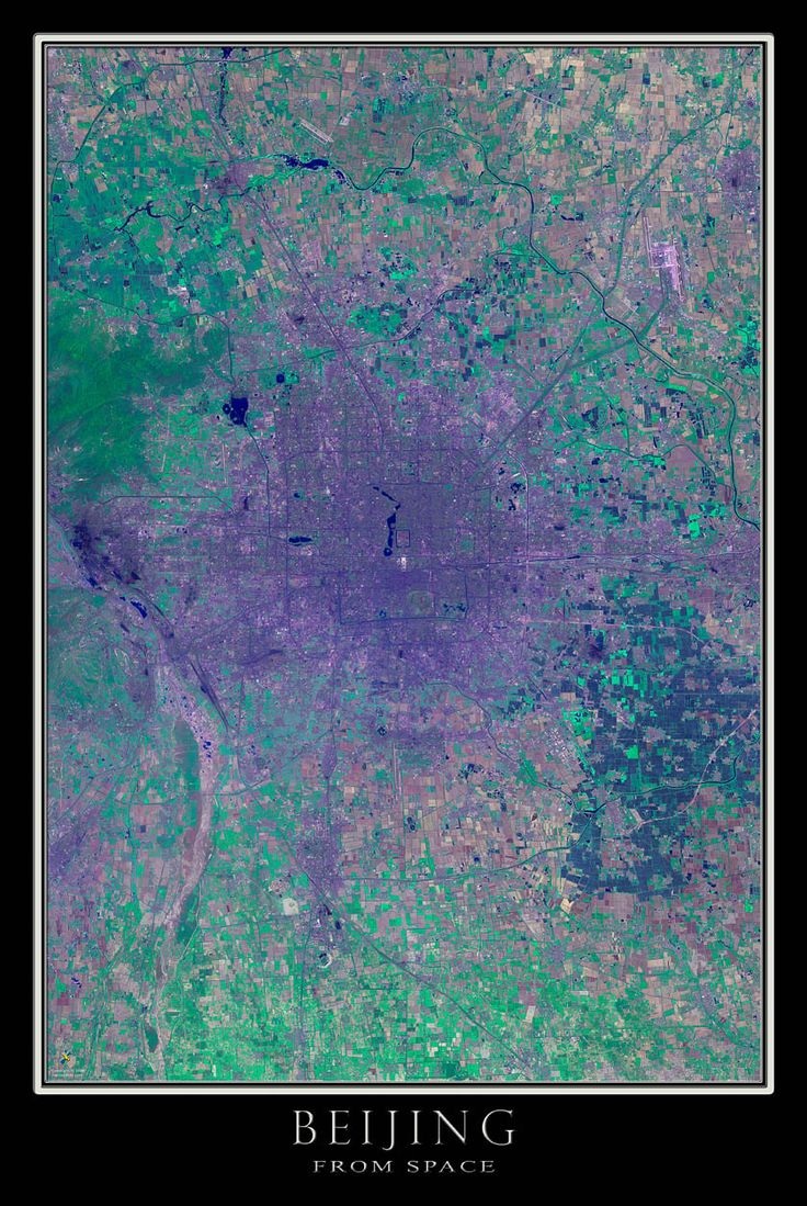 Earths Map%0A Beijing China Satellite Poster Map