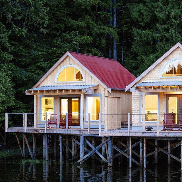We've got a cozy-cabin feeling today!  Photo: @jeremykoreski  Nimmo Bay Wilderness Resort, Great Bear Rainforest, BC