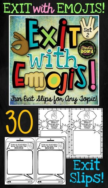 "These exit slips are a fun way to get a formative assessment and engage students at the same time! There are four designs and 30 assignments included. Exit with Emojis exit slips can be used with any subject over and over! They may be used as a ""ticket out the door"", as an early finisher's assignment, as a center activity, even as homework! Using these exit slips will help provide insight on how your students relate to what they learn each day!"