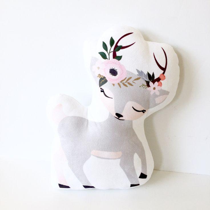 Deer, Kids Pillow, Deer Pillow, Nursery Pillow, Girl Pillow, Girl Room, Baby Girl Nursery, Woodland Creature, Woodland Nursery, Plush Deer by LittleFruitTreeShop on Etsy https://www.etsy.com/listing/503066185/deer-kids-pillow-deer-pillow-nursery