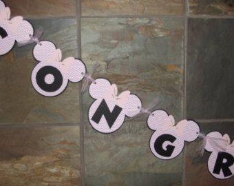 Rose Minnie Mouse Félicitations Chevron bannière - Baby douche signe - Photo Prop bannière