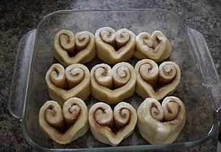Heart shaped Cinamon Rolls