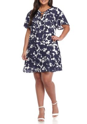 Free 2 Luv Girls' Plus Size Lace Up Floral Woven Dress - Cream Ink - 2X