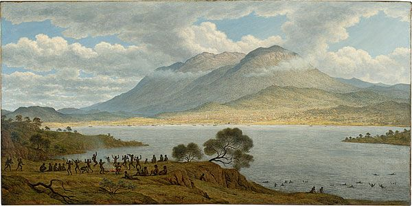John GLOVER Mount Wellington and Hobart Town from Kangaroo Point 1834 oil on canvas 76.2 h x 152.4 w cm National Gallery of Australia