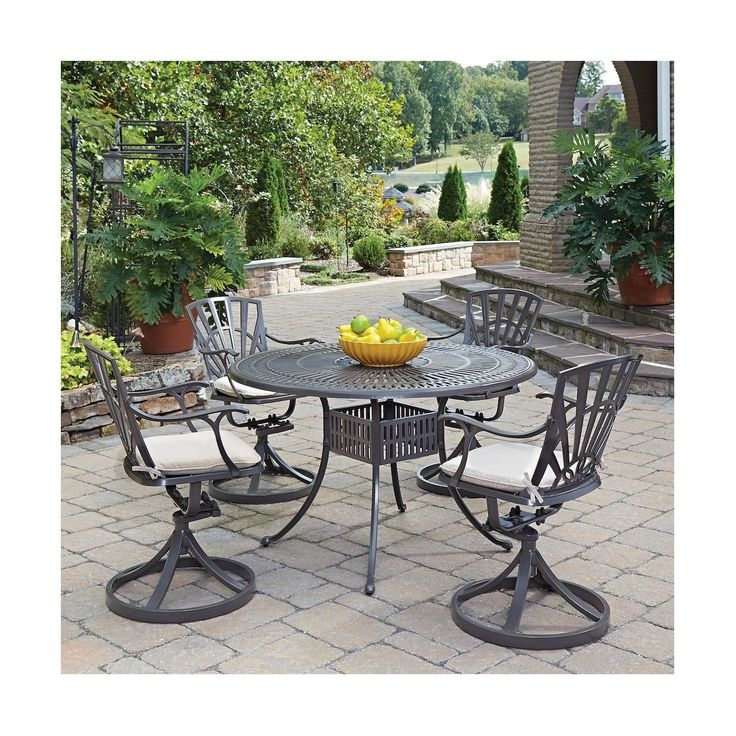 Home Styles Largo 5 Piece Patio Dining Set With Cushions   Taupe (Brown)