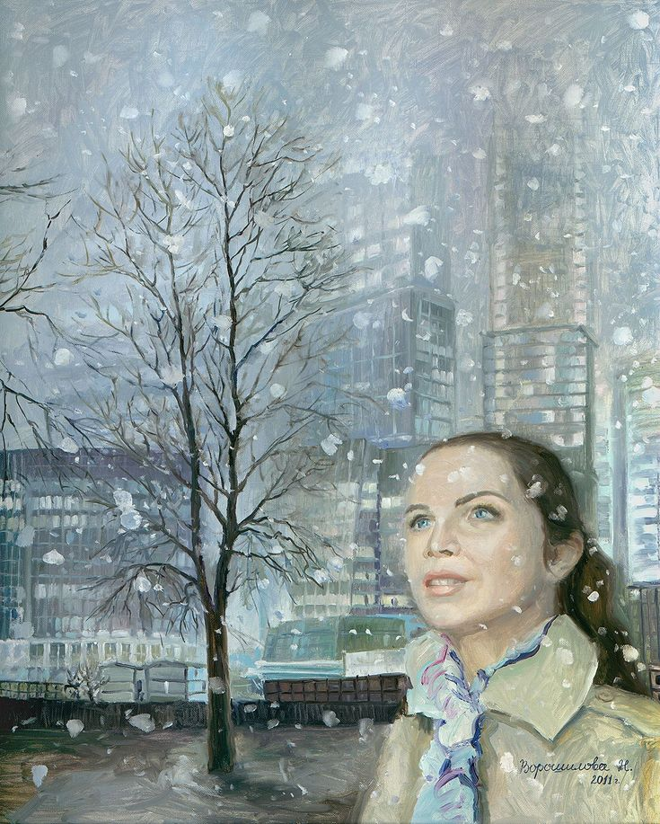 Title: Moscow City. First snow. Artist: Natalia Voroshilova (Novikova) Style: Impressionism Genre: Architecture Medium: Oil on canvas Size(cm): H100*W150 Year: 2016 Country: Russia Description: The picture is painted under impression of Moscow city. Unexpectedly to see such amount of glass and concrete in Moscow. The first snow, a delighted look of the woman, thin trunks of trees - everything kontastirut and at the same time supplements the image of buildings. . Visit our website…
