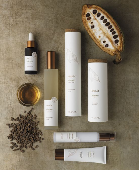 Amala - luxury organic skincare line founded in Germany. (Liska + Associates)
