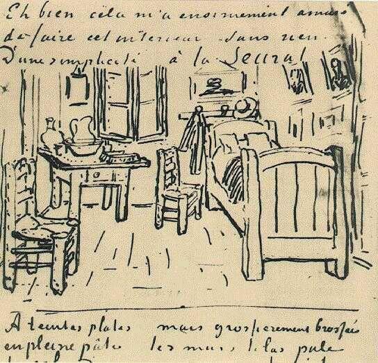 Vincent van Gogh - Vincent's Bedroom - Lettersketch 17 October 1888 - to Gauguin