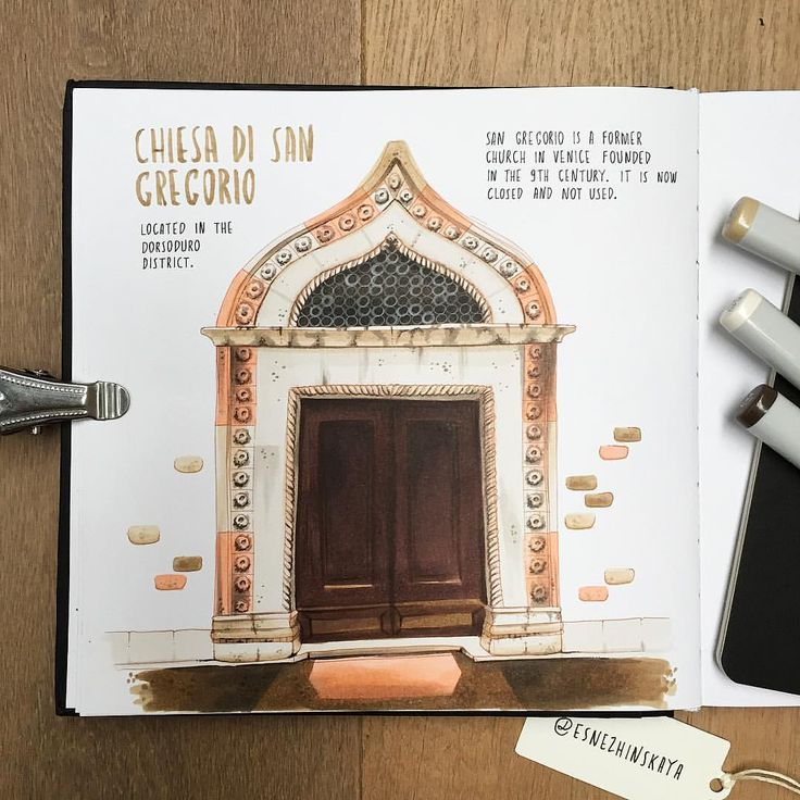 "Marker city cityscape painting, copic ciudad, маркеры городской пейзаж door 640 Likes, 2 Comments - Elena Snezhinskaya (@esnezhinskaya) on Instagram: ""San Gregorio church in Venice was founded in 9th century, and now it's closed and not used. This…"""