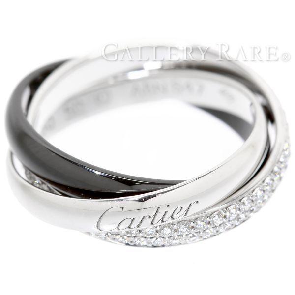 カルティエ リング トリニティ ドゥ カルティエ リング セラミック SM ダイヤモンド 0.45ct K18WGホワイトゴールド ブラックセラミック リングサイズ50 B4095500 Cartier ジュエリー 指輪 ダイアモンド