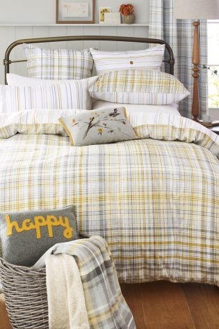 Buy Two Pack Ochre Check Bed Set from the Next UK online shop - £52 King Love the bird cushion too!