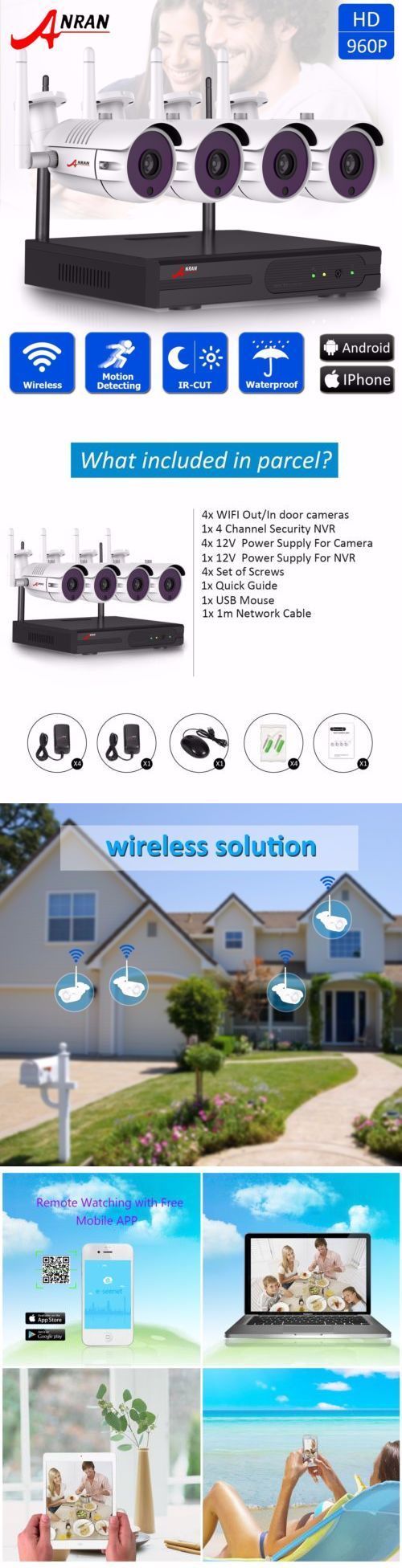Security Cameras: Anran 4Ch Wireless 960P Hd 1.3Mp Outdoor Wifi Home Cctv Security Camera System -> BUY IT NOW ONLY: $197.99 on eBay!
