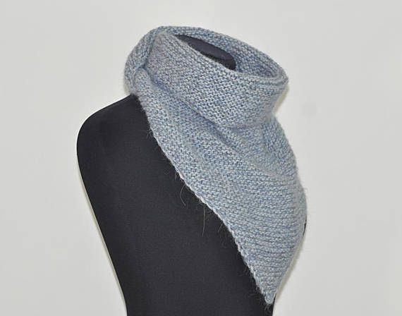 Color: gray-blue  >Material: mohair / wool / polyamide  >Dimensions: width ~ 35 in ( ~ 90 cm) height ~ 17 in ( ~ 45 cm)  >Care: gentle care, hand wash in warm water with mild soap, press into dry towel, lie flat to dry. Do not iron!  Custom orders welcome. Want a different color or a different size - I can knit for you your exclusive version.  Knit mohair triangle shawl gray wool knitting warm shawl blue scarf melange shawl winter accessory for her scarves unisex accessory ...