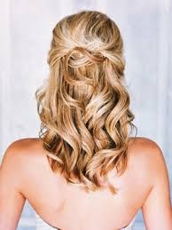 Image result for wedding hairstyles for medium hair half up half down with veil