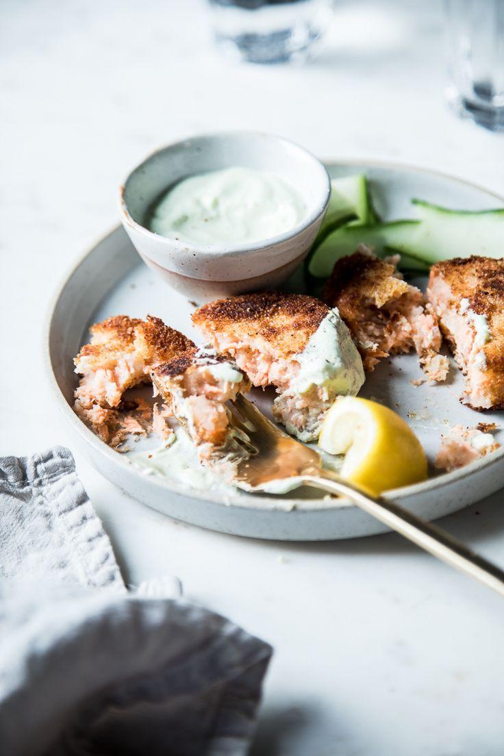 ... Foodie: Potato Salmon Cakes with a Garlic and Chive Yogurt Sauce