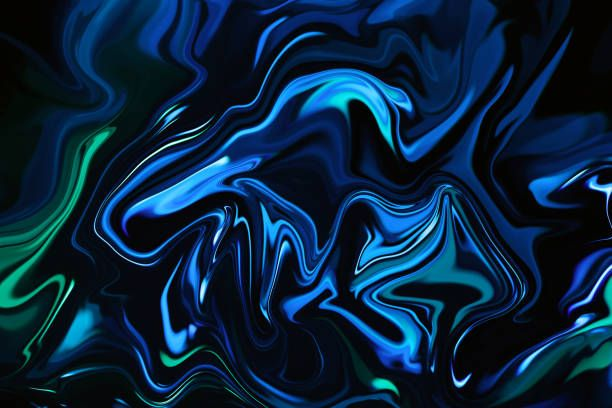 Marble Neon Blue Green Abstract Texture On Black Background Multi Neon Blue Background Black Backgrounds Abstract