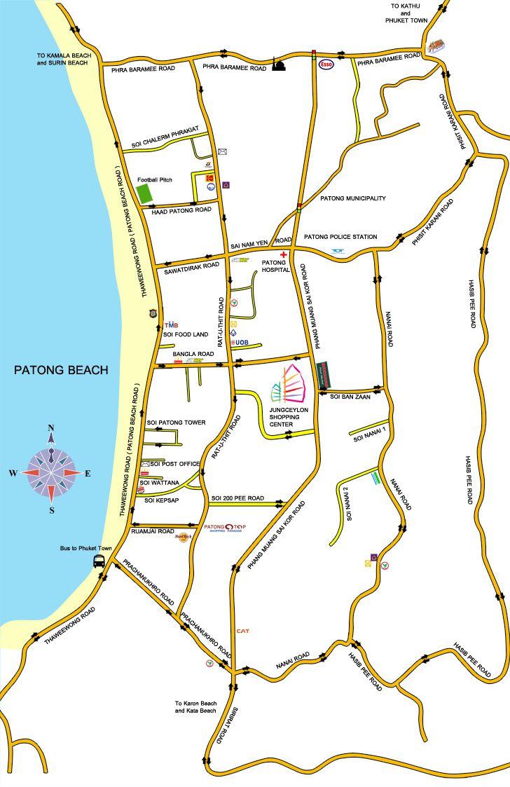 Patong Beach Map Patong Beach Roads Soi's and Main areas of Patong Phuket Thailand