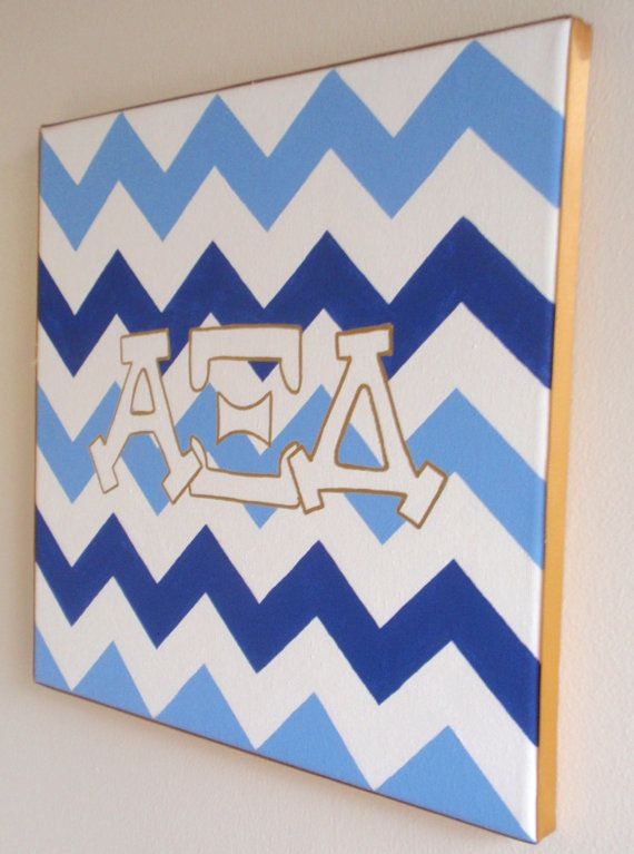 hand painted Alpha XI Delta letters outline with chevron background 12x12 canvas Official Licensed Product