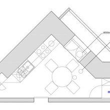 Нью-йоркский дворик: дизайн треугольной кухни 13 кв. м.-7