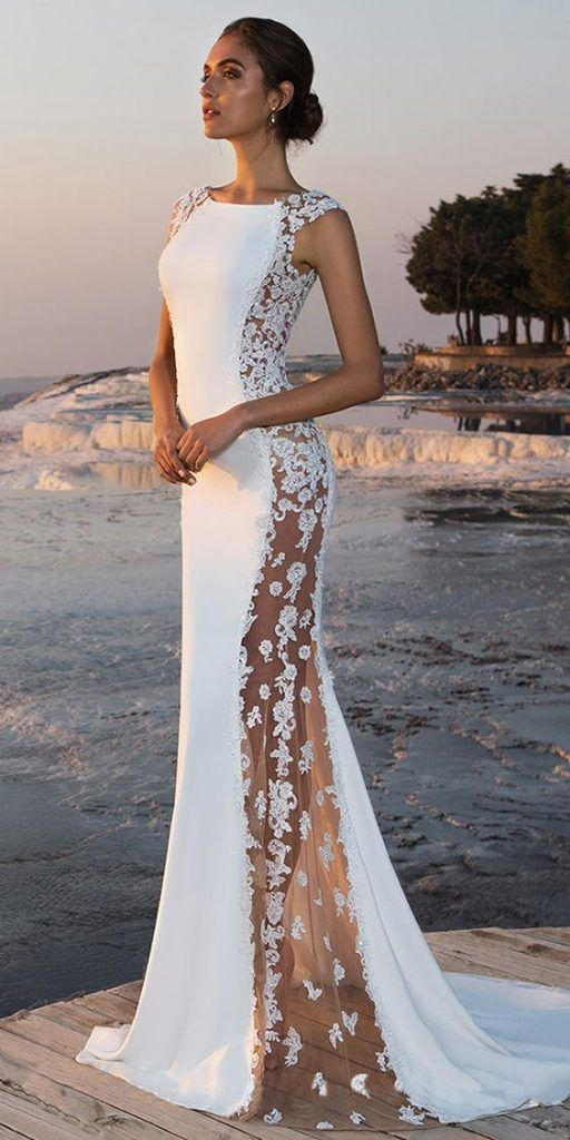 22f040d8f05a9 Dantelli ve şifon gelinlik modeli | Fabulous Stretch Chiffon Bateau  Neckline See-through Mermaid Wedding Dress With Beaded Lace Appliques