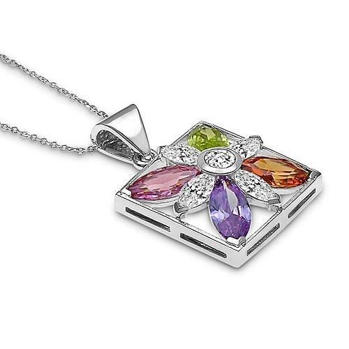 """Цветочный кулон """"Цветочный Квадрат"""" с разноцветными цирконами CZ из стерлингового серебра"""