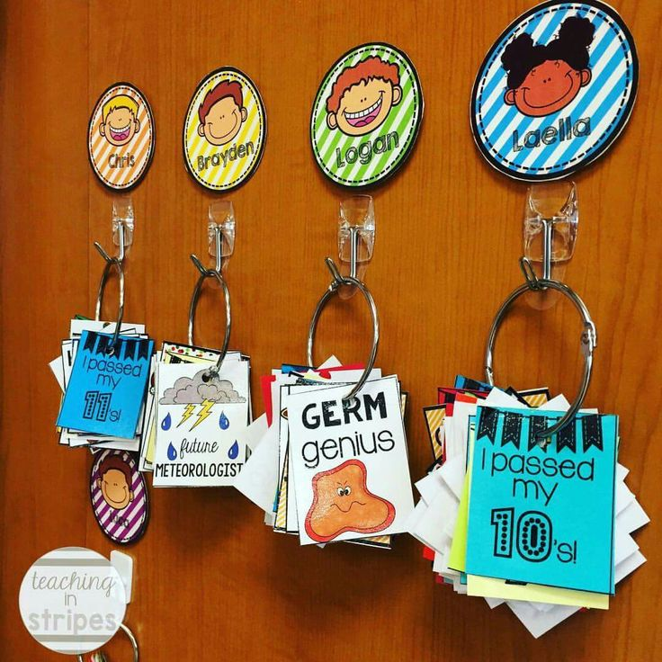 My 2nd graders are all about Brag Tags this year. Command hooks and shower rings…