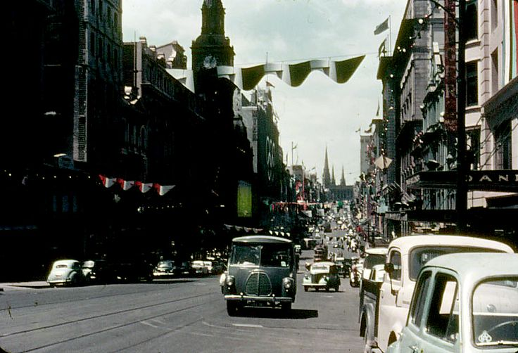 Melbourne Bourke St Looking East from Queen St November 1956 - Olympic City