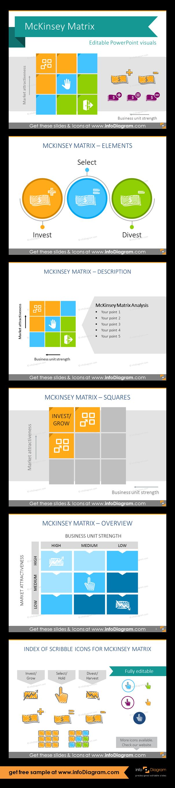 Collection of McKinsey matrix (so called GE Matrix) visual layouts as pre-designed PowerPoint slides. Use this presentation to educate about investment strategies. Fully editable style. Size and colors easy to adjust using PowerPoint editor. Examples of presenting McKinsey Matrix: illustrated with scribbled icons in circles, with description aside, foe separate elements, monocolor matrix, scribbled creative pictograms.