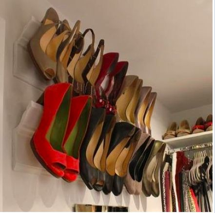 Shoe Storage, Domino Magazine wall-mounted shoe storage, creative storage, small space living