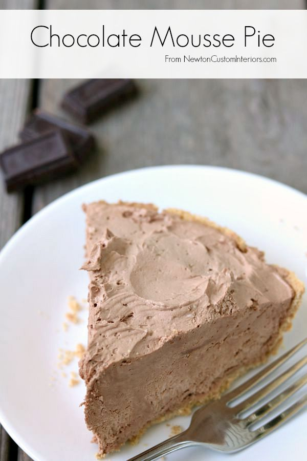 Delicious Chocolate Mousse Pie from NewtonCustomInteriors.com
