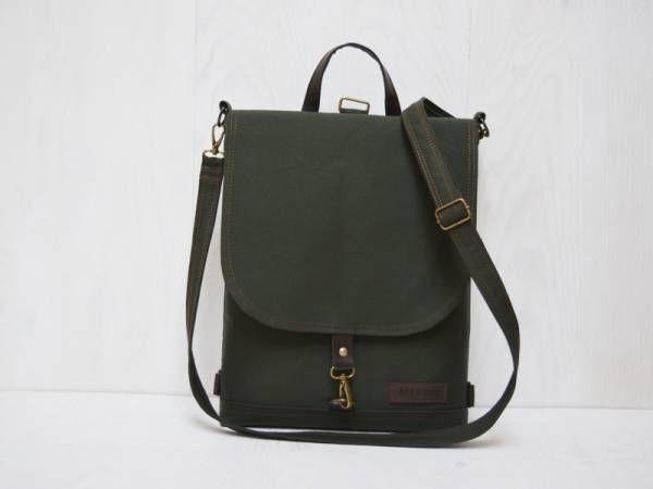 Handmade Canvas Backpack - Forest Green Design