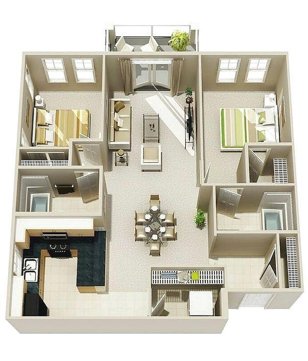 Denah Rumah Minimalis 2 Kamar Tidur 3D Baru   Denah rumah ...