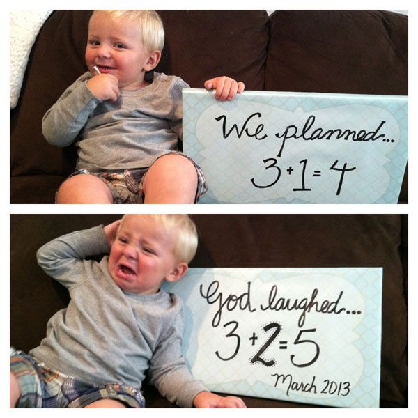 30+ Fun Photo Ideas to Announce a Pregnancy - Unplanned Twins Announcement