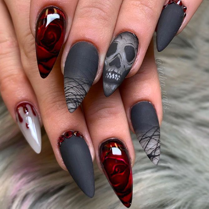 Black Grey Marble Matte Nails Cute Fall Nails Spider Web Decorations In 2020 Halloween Nail Designs Cute Halloween Nails Goth Nails