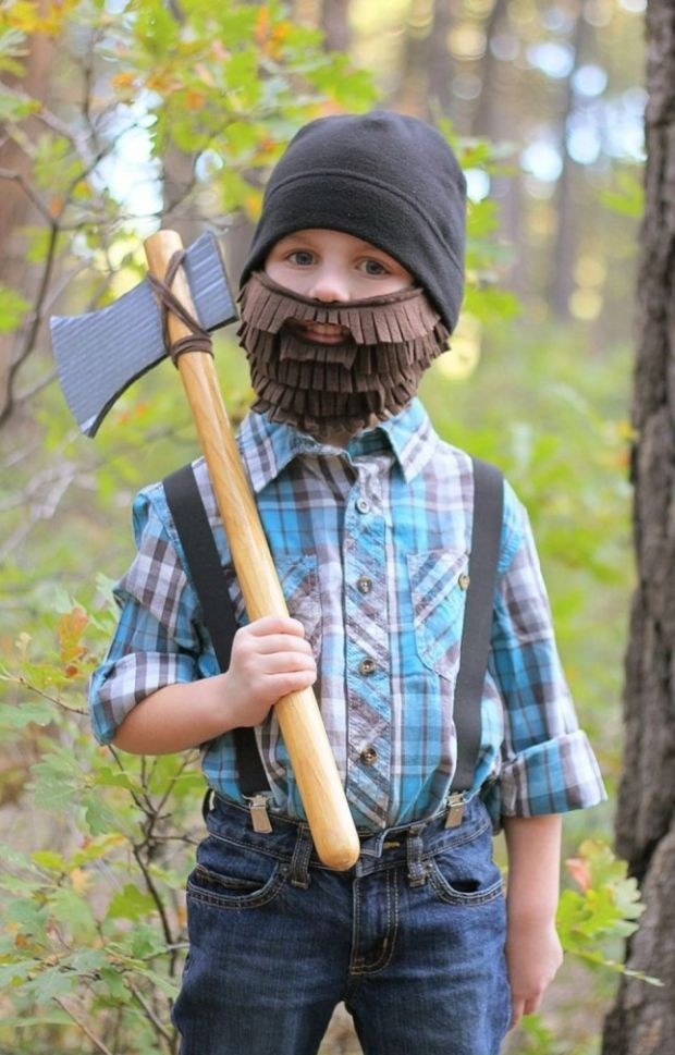 Baumfäller mit DIY Bart-Kinderkostüm für Karnevals, Fasching, Halloween