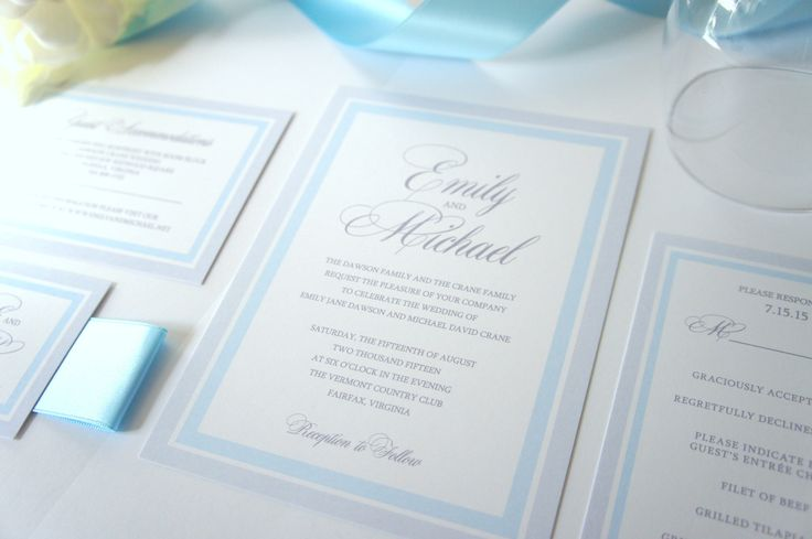 Light Blue Wedding Invitation, Blue and Gray Wedding Invitations, Belly Band, Elegant, Baby Blue, Grey, Wedding Invites - SAMPLE SET