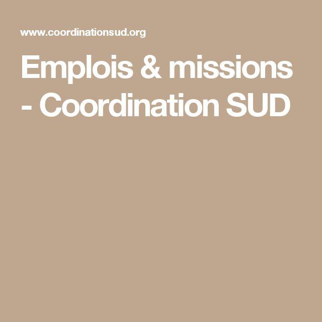 Emplois & missions - Coordination SUD