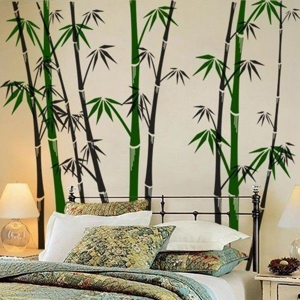 Marvellous Designs For Bedroom Walls With Wall Murals Green Bamboo Design Along Black Iron Bed And White Bedding Also Gray Bed Covers Plus White Table Lamp Bedside As Well As Kids Bedroom Designs Plus Bedroom Designs, Modern Ideas Cool Designs For Bedroom Walls: Bedroom