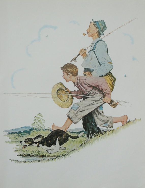 Norman Rockwell Favorite Poster, Vintage Poster Art, Grandpa and Me Spring…
