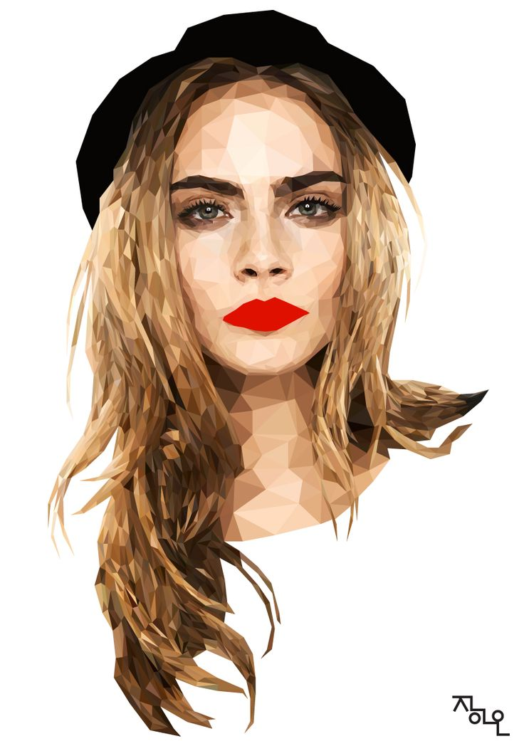 art ai illust illustrator cs5 polygon polygonart artwork model famous uk caradelevigne